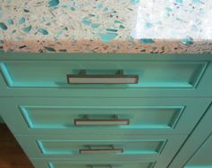 Charming Small Kitchen Interior Featuring Splash of Fresh Color: Simple Drawer Of Floating Blue Vetrazzo And Teal Cabinetry For Tiny Kitchen Stuff Storage Set Idea ~ relyme.com Kitchen Inspiration