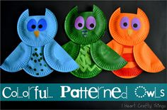 Colorful Patterned Owls | I Heart Crafty Things