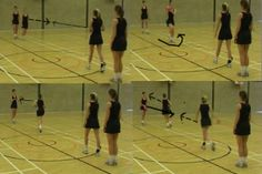 Catch pivot and pass relay Netball Description 4 players, stood in two lines working with 1 ball. The starting player passes the ball to the player moving towards the ball from the opposite group. The receiving player who catches the ball should land on 1 foot, then land on their 2nd foot and pivot onto their 1st landing foot to pass the ball back the player on the side where they started. Exercise reverses in the other direction. Coaching Points Landing foot = pivot foot Netball Coach, Passing Drills, Rugby League, Kids Sports, Rowing, Excercise, Fun Workouts, Coaching, Basketball Court