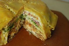 If you love Italian food, you should try this deep dish layered lasagna timpano cake! It has layers of lasagna and other savory ingredients wrapped in a fabulous cake shape. Cake Recipes From Scratch, Easy Cake Recipes, Pasta Recipes, Cooking Recipes, Cooking Food, Good Food, Yummy Food, Tasty, Deep Dish
