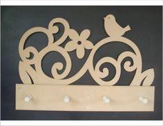 CABIDEIRO PASSAROS RECORTADO A LASER EM MDF 6MM R$ 18,00 Foam Crafts, Wooden Crafts, Diy And Crafts, Wood Projects, Woodworking Projects, Projects To Try, Paper Flower Art, Wooden Pattern, Arte Country