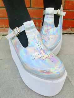 Free shipping Japanese Harajuku fashion Unif laser silver PU cutout round toe doll platform shoes-inPumps from Shoes on Aliexpress.com