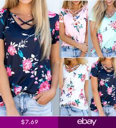 05f7324a41 Womens Floral Casual Tops Shirt Loose Fashion Blouse Cloth Plus Size  T-Shirt SA