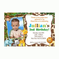 You print - Jungle Animals Birthday photo Invitation -  Safari Animals | Mary_Party_Supply - Digital Art  on ArtFire