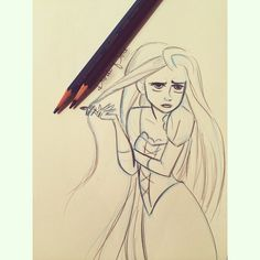 When someone thinks they are cooler than you, and you just stand there looking at them like.... _ #rapunzel #sketch #glenkeane #doodle…
