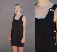 90's M Black Denim Jumper Dress Overalls Short by anthropolotique, $32.00