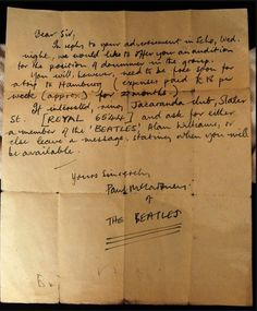 Paul McCartneys 1960 Letter To Audition A Drummer For The Beatles Trip To Hamburg