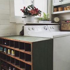 FarmhouseGreen on Instagram   Farmhouse Laundry Room (Great Shoe Holder!)