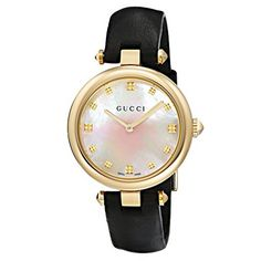 d3e2d4bcfd7e4 Relógio Gucci Feminino Couro Preto - YA141404 Joias Gucci, Relógio Gucci,  Colares Iniciais,