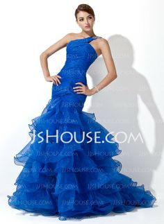 Prom Dresses - $172.99 - Mermaid One-Shoulder Sweep Train Organza Prom Dress With Ruffle Beading (018005077) http://jjshouse.com/Mermaid-One-Shoulder-Sweep-Train-Organza-Prom-Dress-With-Ruffle-Beading-018005077-g5077