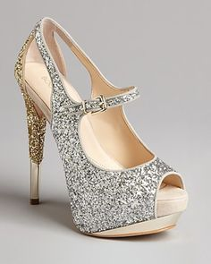 Glitter Peep Toe Platform Evening Pumps Nickeya - Lyst