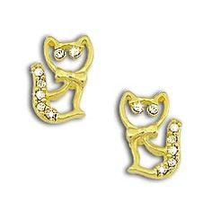 Brinco em forma de gato folheado a ouro c/ strass  Código: BS2068