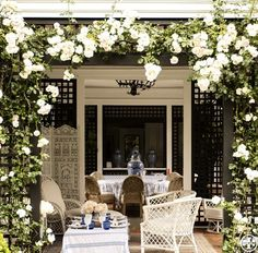 White climbing roses, painted lattice, white wicker - Tory Burch's Hamptons porch