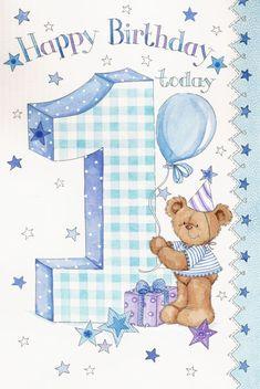 Happy Birthday - Boy Teddy Bear By: Zoe Connery - 1st Birthday Wishes, Happy Birthday Today, Kids Birthday Cards, Happy 1st Birthdays, Birthday Numbers, Happy Birthday Greetings, 1st Boy Birthday, Birthday Greeting Cards, Birthday Pictures