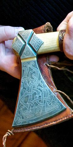 Mammen Axe - dynamite detail. This could be a weapon worthy of Ra(n)dbard, King of the Swedish colony in Russia circa A.D. 600. Radbard is the hero in AUDRA'S QUEST by Kim Iverson Headlee -- and purportedly an ancestor of her husband's <3.