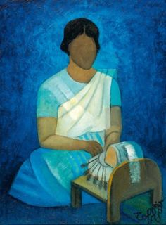 Jeune femme de Ceylan. Huile sur toile de Louis TOFFOLI (français 1907 - 1999)