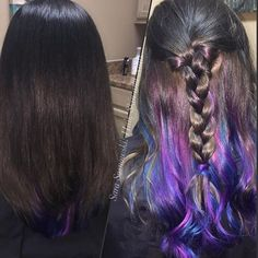 peakaboovivids underlights rainbowhair vividhair v Blue Hair, Pink Hair, Belliage Hair, Underlights Hair, Hair Straightening Iron, Hair Images, Hairstyle Images, Hair Brained, Creative Hairstyles