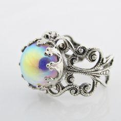 Anillo de plata anillo de arco iris, colores iridiscentes, vidrio iridiscente cabujón, joyería ajustable, colorida, iridiscente