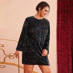 Women's Spring Sequined O-Neck Dress | Plus Size | ZORKET | Material: Polyester • Dresses Length: Above Knee, Mini • Style: Sexy & Club, Flare Sleeve • Decoration: Zipper, Sequins • Silhouette: Sheath • Neckline: O-Neck • Waistline: Natural • Type: Solid