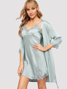 Shop Crochet Trim Satin Cami Dress With Robe online. SHEIN offers Crochet Trim Satin Cami Dress With Robe & more to fit your fashionable needs. Casual Skirt Outfits, Dressy Dresses, Pijama Satin, Ropa Interior Babydoll, Satin Cami Dress, Silk Nightgown, Crochet Trim, Lingerie Sleepwear, Designer Wedding Dresses