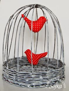 птичка птица клетка декор газетные трубочки плетение газета своими руками хобби