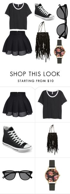 """""""Untitled #20"""" by ahcrownover ❤ liked on Polyvore featuring H&M, Converse, Yves Saint Laurent, Olivia Burton, women's clothing, women, female, woman, misses and juniors"""