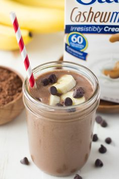Chocolate Banana Smoothie - A creamy chocolatey banana smoothie made with three ingredients! @lovemysilk