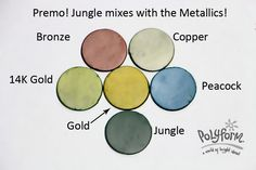 So today, I'm going to wrap up the individual color mixes so that next week I can present the final color palette mixes for BOTH Premo! and Souffle.       The green in the color swatch is pretty much straight Premo! Jungle, so I decided to mix Jungle with a couple of the