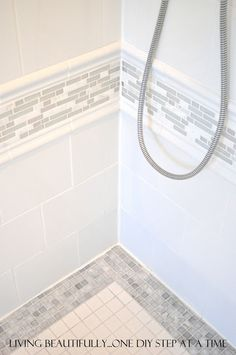 Bathroom: Shower tile ideas Use more expensive tiles as an accent with less expensive tiles to save money and add interest. Laundry In Bathroom, Bathroom Renos, Basement Bathroom, Bathroom Ideas, Shower Bathroom, Design Bathroom, Tile Design, Remodled Bathrooms, Bathroom Canvas