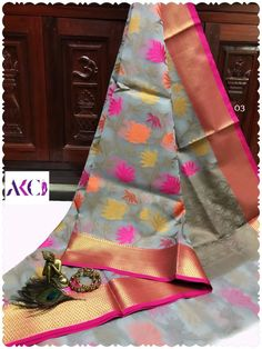 These sarees designed with exclusive floral weavings as beauty allover saree with lavishing borders with jacquard blouse. Kora Silk Sarees, Organza Saree, Siri, Weaving, Designers, Pure Products, Floral, Cotton, Gadgets