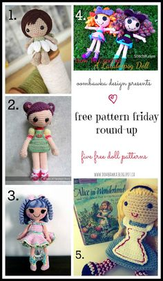 Free Doll Crochet Patterns http://oombawkadesigncrochet.com/2013/08/free-pattern-friday-round-up.html?utm_campaign=coschedule