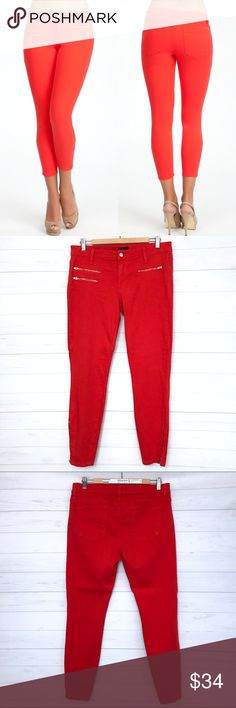 """Bebe Multi Zip Icon Skinny Jeans in Fiery Red Has a tiny loose thread on one back pocket pls see photo. Other than that still in good condition. Size 31. Lay Flat Measurement; inseam-29 3/4"""". Cuff-5"""". Length Approx-37 3/4"""". Rise-9"""". Waist-17"""". Hip-19"""". Very Stretchy. Side Zip on both lower leg. No Trades. No low ball offers. Make a reasonable offer. IIBox#G016 bebe Jeans Skinny"""