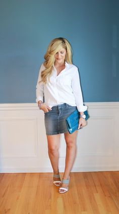 Outfitted411: Classic Combination...denim mini skirt, white button down shirt, simple summer outfit