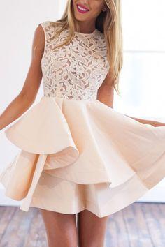 With Zipper Blush Lace Insert Flare Pink Dress