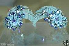 VINTAGE BABY BLUE CELLULOID,AURORA BOREALIS RHINESTONES EARRINGS SIGNED CORO