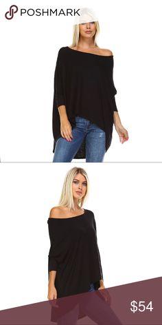 Oversized Off Shoulder High Low Loose Top Comfortable, easy to wear, and lightweight. The perfect piece to pair with skinnies, leggings, or denim shorts. Loose, oversized fit, dolman sleeves, a wide neckline that can be worn off shoulder. High low hem. The perfect combination of chic and casual.   Made in the USA 🇺🇸  ❌ Sorry, no trades.  fairlygirly fairlygirly Tops Tunics