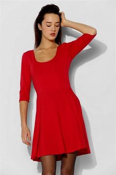 Awesome red skater dress with sleeves 2017-2018