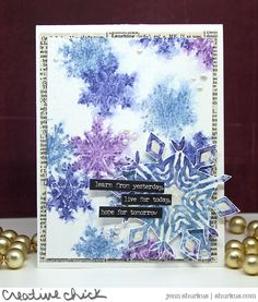 Pearly Watercolor Snowflake Card for Ranger Ink | shurkus.com