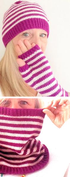 Free Knitting Pattern for Easy Mrs. Pickles Hat, Mitts, and Cowl - This matching set features practically jogless stripes. Great stashbuster. Rated very easy by Ravelrers. Designed by Little Church Knits