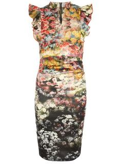 46e4f67dafe   Jolie Moi Black Floral Frilly Dress Floral Midi Dress