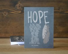 Hope Greeting Card Encouragement  - Gray Brown Feather Tribal Inspired Art Card Emily Dickinson on Etsy, $5.00