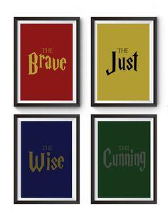 Hogwarts houses poster Harry Potter