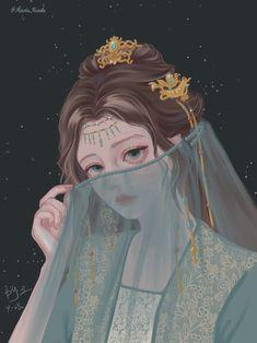 Anime Art Girl, Manga Art, Watercolor Girl, Girly Drawings, China Art, Comics Girls, Anime Fantasy, Galaxy Wallpaper, Ancient Art