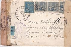 1942 US Cover to French Guinea, French West Africa - A  Rare WWII Destination