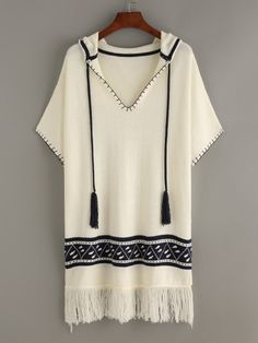 White Tassel Tie Geo Pattern Fringe Trim Hooded Sweater
