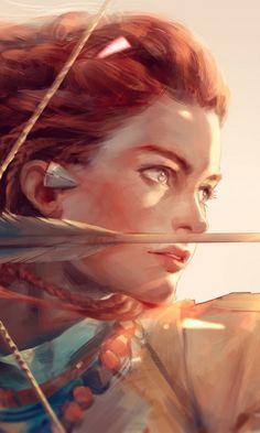 Horizon zero dawn, artwork, aloy, art, archer