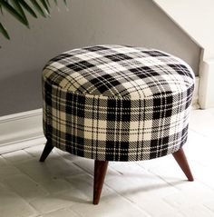 black and white plaid ottoman