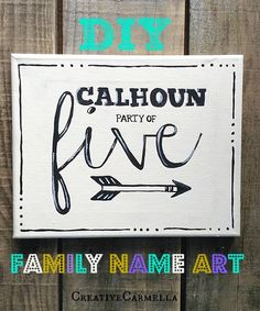 DIY Painted Family Name Art (she: Carmella) - Or So She Says