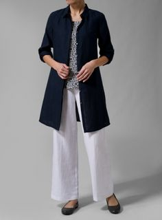 Linen Rolled Sleeve Long Top With Camisole Set