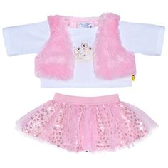 Get ready for winter with this Pink Vest outfit! The teddy bear size outfit includes a white long-sleeve tee with gold-colored crown graphic...